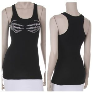 2X Rhinestone Skeleton Hands Tank Top